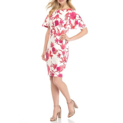 ジェシカハワード レディース ワンピース トップス Women's Flutter Sleeve Floral Dress