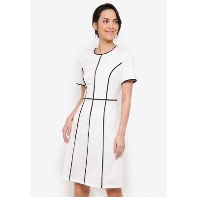 ザローラ ZALORA BASICS レディース ワンピース ワンピース・ドレス Contrast Trim Sheath Dress White/Black Piping