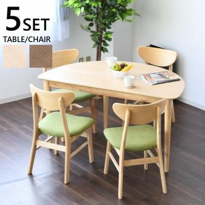 テーブル ダイニングテーブル チェア ダイニングチェア  椅子 イス 4脚 食卓 食卓セット 半円テーブル NA BR ダイニング ダイニングセット 5点セット 幅130cm 奥