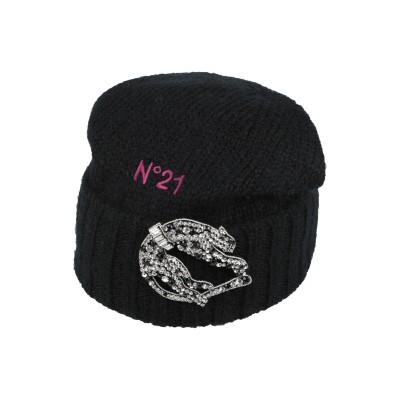 ヌメロ ヴェントゥーノ N°21 帽子 ブラック one size ウール 43% / モヘヤ 29% / ナイロン 28% / ガラス / シルク