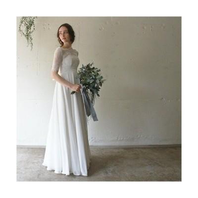 ウエディングドレス 二次会 花嫁ドレス プリムベール半袖エンパイアドレス