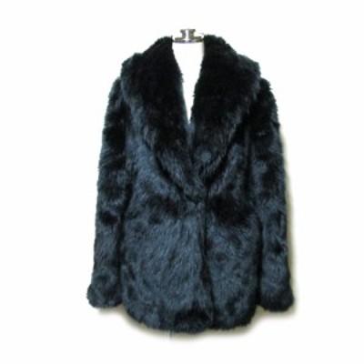 美品 CECIL McBEE セシルマクビー 「M」ファージャケット (毛皮 黒 コート ブルゾン) 105015【中古】