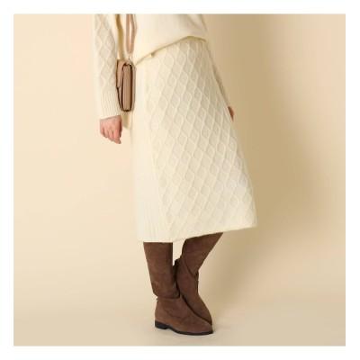 【クチュール ブローチ/Couture brooch】 【手洗い可】ミックス編みニットスカート