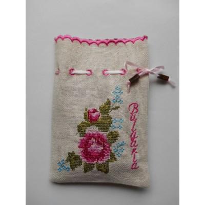 ブルガリア 刺繍 ポーチ バラ ピンク 09015