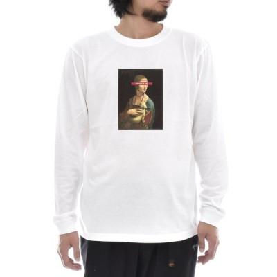 レオナルドダヴィンチ Tシャツ 白貂を抱く貴婦人 ライフ イズ アート 長袖 ロングスリーブ メンズ レディース 大きいサイズ 絵画 名画 ホワイト 白 ブランド