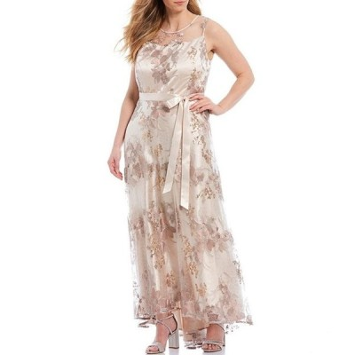 タハリエーエスエル  レディース ワンピース トップス Plus Size Illusion Neck Embroidered Floral A-Line Gown