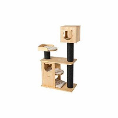 YUXUANCIXIU-R 猫クライミングフレーム、木製の猫の家の別荘、ペットのおも(新古未使用品)