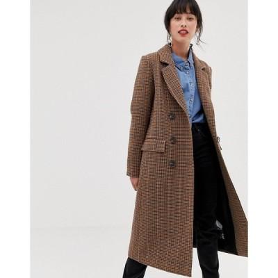 エイソス レディース  コート アウター ASOS Warehouse tailored longline coat in check