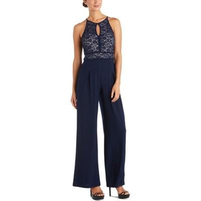 ナイトウェイ Nightway レディース オールインワン ジャンプスーツ ワンピース・ドレス Lace Wide-Leg Jumpsuit Navy