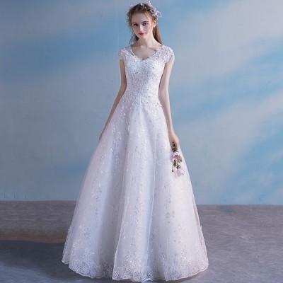 ウエディングドレス aライン 花嫁 白 ロングドレス 結婚式 二次会 安い 大きいサイズ ブライダル パーティードレス 海外挙式 披露宴 演奏会