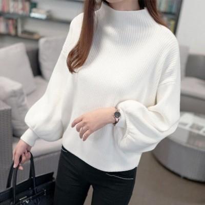 ニットセーター レディース ハイネック 5色 無地 長袖 大人 ゆったり 着やすい セーター パフスリーブ 人気 秋冬