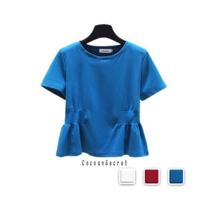 Tシャツ レディース ふんわり トップス 半袖 白 赤 青