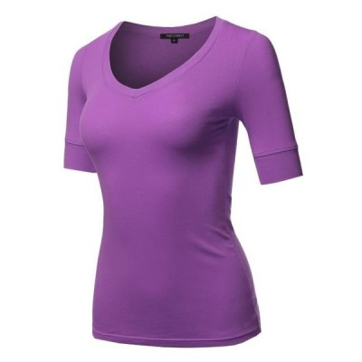レディース 衣類 トップス FashionOutfit Women's Solid Elbow Sleeves V-Neck Casual Basic Cotton Based Top ブラウス&シャツ