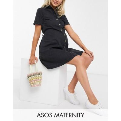エイソス ASOS Maternity レディース ワンピース Maternity Soft Denim Smock Shirt Dress In Washed Black