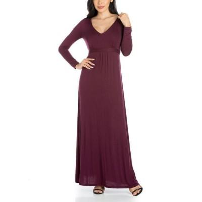 24セブンコンフォート レディース ワンピース トップス Women's V-Neck Long Sleeve Maxi Dress
