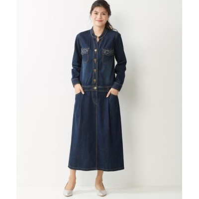 大きいサイズ 綿100%デニムロングワンピース ,スマイルランド, ワンピース, plus size dress