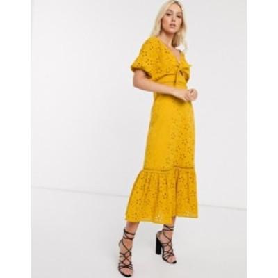 エイソス レディース ワンピース トップス ASOS DESIGN broderie knot front maxi dress in mustard Mustard