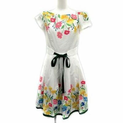 【中古】エムズグレイシー M'S GRACY 18SS ワンピース フレア ロング 花柄 半袖 36 白 ホワイト マルチカラー