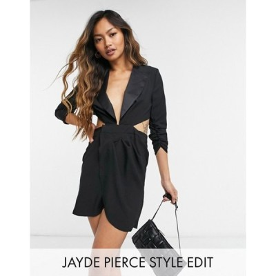 エイソス レディース ワンピース トップス ASOS DESIGN tux mini dress with open back in black