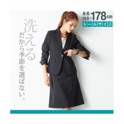 スーツ オフィス トールサイズ 大きいサイズ レディース 洗える 定番セミフレアスカートスーツ  黒/ネイビー×ライトグレーストライプ/黒