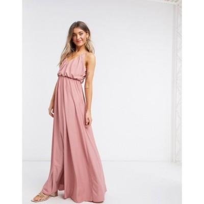エイソス レディース ワンピース トップス ASOS DESIGN cami plunge maxi dress with blouson top in soft pink