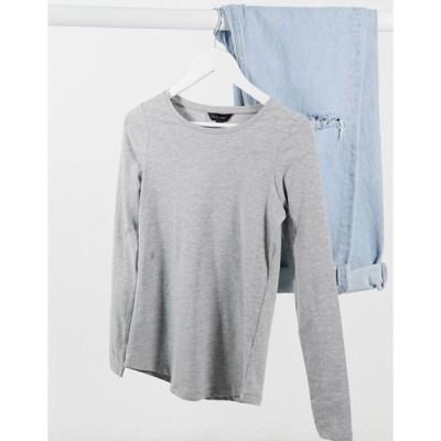ニュールック レディース シャツ トップス New Look long sleeve crew neck top in gray