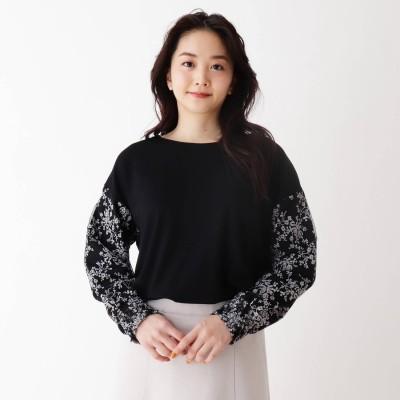 シューラルー SHOO-LA-RUE お袖刺繍レ-ス切り替えプルオーバー (ブラック)