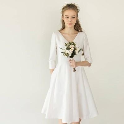 ウエディングドレス ミニドレス 白 二次会 花嫁 結婚式 大きいサイズ ミニ丈 Vネック 袖あり 五分袖 Aライン フレア シンプル