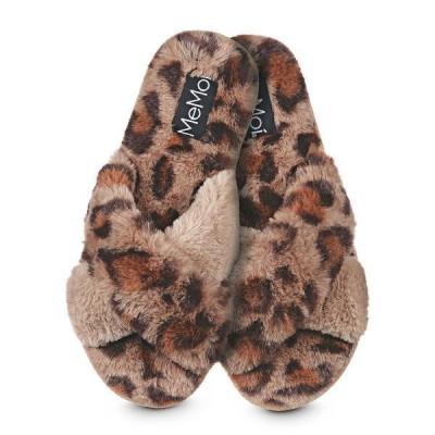 メモイ サンダル シューズ レディース Cheetah Plush Women's Slippers Taupe