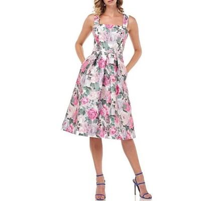 ケイ アンジャー レディース ワンピース トップス Kylie English Floral Print Tivoli Jacquard Pleated Square Neck Sleeveless Party Dress