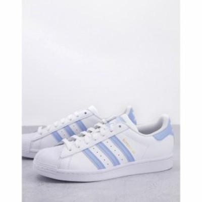 アディダス adidas Originals メンズ スニーカー シューズ・靴 Superstar trainers in white with light blue stripes ホワイト