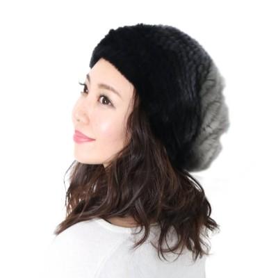【サンキョウショウカイ】 レッキス ファー 帽子 編み込み レディースグラデーション グレー系/ブラウン系 フリーサイズ レディース グレー FREE sankyoshokai
