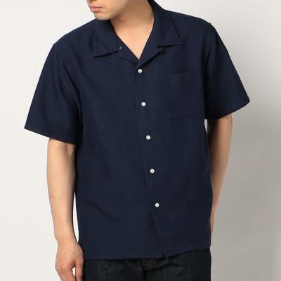 メンズ RENUパナマ半袖オープンカラーシャツ ネイビー S