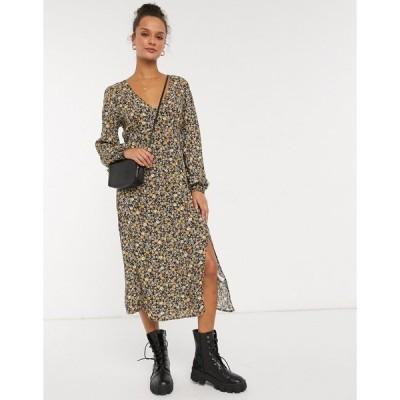 コットン オン レディース ワンピース トップス Cotton:On long sleeve mid dress in ditsy floral Black