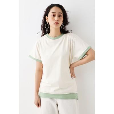 バイカラーレイヤードTシャツ IVOY3