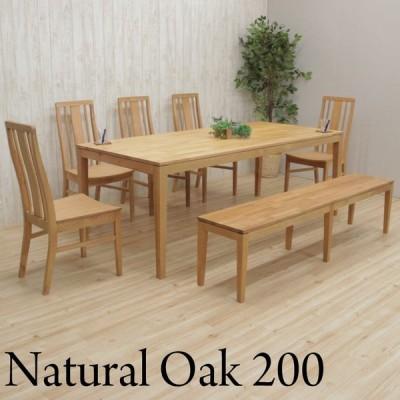 ダイニングテーブルセット 7点セット 8人掛け 幅200cm kapuri200-7ben-351ita ダイニング テーブル チェア ベンチ オーク 板座 木製 アウトレット 48s-5k so hg