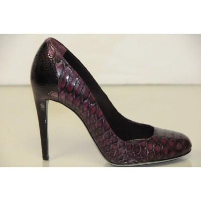 ハイヒール セルジオロッシ Sergio Rossi EXOTIC Python Pitone Wood Pumps Burgundy Plum Shoes 40
