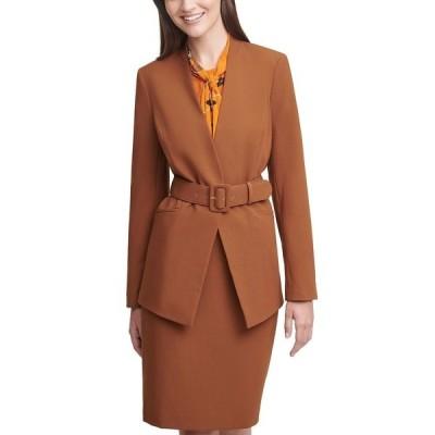 カルバンクライン ジャケット&ブルゾン アウター レディース Collarless Belted Jacket, Regular & Petite Sizes Tobacco Brown
