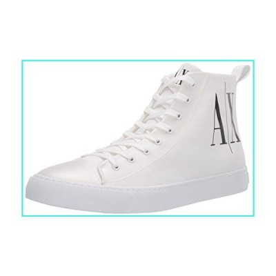 【新品】A|X Armani Exchange Men's Project Logo High Top Lace Up Sneaker, Optical White icon, 11 M US(並行輸入品)