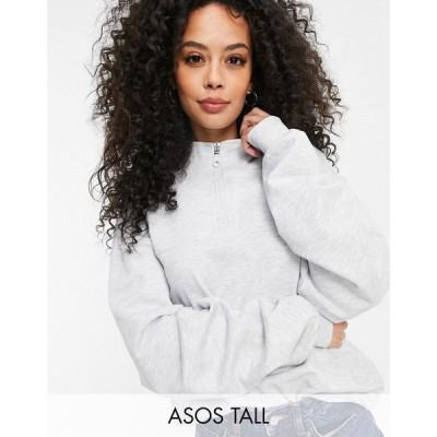 エイソス ASOS Tall レディース スウェット・トレーナー トップス Asos Design Tall Half Zip Sweatshirt In Grey Marl グレー