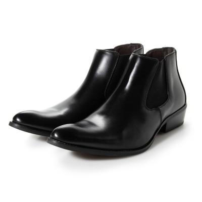 ジーノ Zeeno ビジネスシューズ メンズ ブーツ チャッカーブーツ 脚長 ショートブーツ ドレスシューズ 革靴 メンズブーツ 紳士靴 靴 サイドゴア (ブラック)