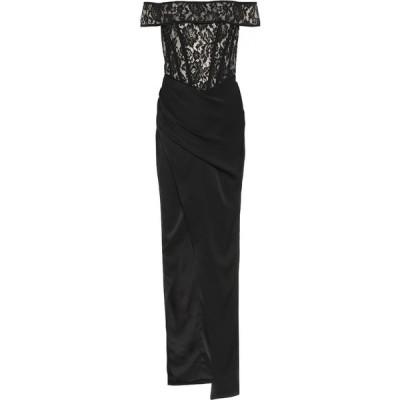 ロサリオ RASARIO レディース パーティードレス ワンピース・ドレス Floral-Lace And Crepe Gown Black
