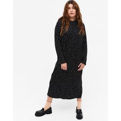 モンキ Monki レディース ワンピース ミドル丈 ワンピース・ドレス Pia Spot Print Long Sleeve Midi Dress In Black