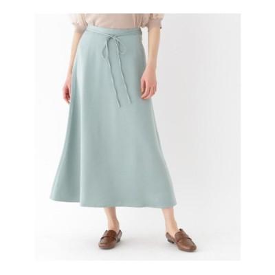 【洗える/Lサイズあり】マットサテンロングフレアスカート (グリーン(022))