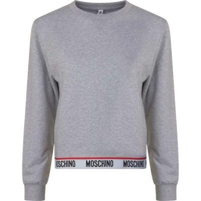 モスキーノ MOSCHINO レディース スウェット・トレーナー トップス Logo Band Sweatshirt Grey