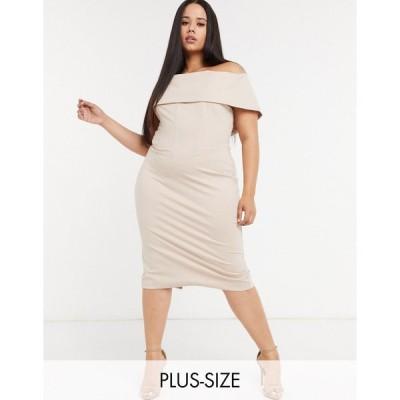 ラヴィッシュアリス ドレス 大きいサイズ レディース Lavish Alice Plus bardot corset dress in champagne エイソス ASOS