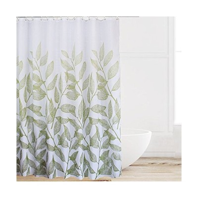 Eforcurtain Home Fashion Green Leaves Shower Curtain Fabric Water Proof, Durable Shower Curtain Liner with Thick Free Hooks, Standard Size 7