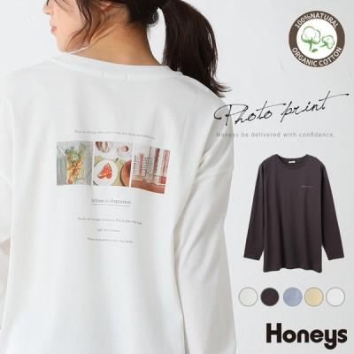 トップス Tシャツ 長袖 プリント オーガニック 綿 ゆったり カジュアル レディース 春 Honeys ハニーズ フォトプリントTシャツ