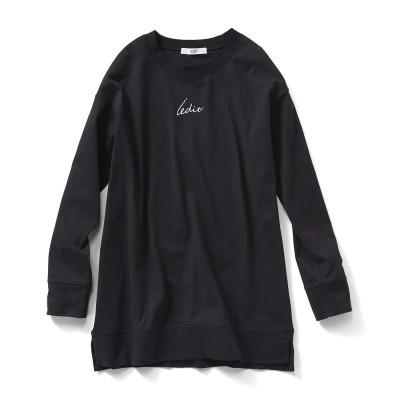 リサイクルコットンのブランドロゴTシャツ〈ブラック〉 IEDIT[イディット] フェリシモ FELISSIMO
