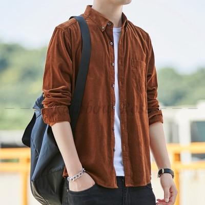 シャツ メンズ 長袖 カジュアル ビジネス トップス 無地 かっこいい カッコイイ 大きいサイズ 韓国 新作 春秋 20代 30代 40代